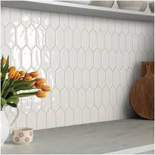 Marazzi Luxecraft White Picket 11 In X 12 In X 6 35mm Glazed Ceramic Mosaic Tile 0 7 Kitchen Backsplash Designs Kitchen Backsplash Trends Backsplash Designs