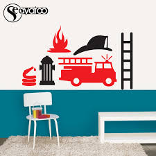 Cartoon Fire Truck Engine Car Vinyl Wall Decal Sticker Kids Boys Bedroom Nursery Stickers Wall Decals Stickers Nursery Stickersdecal Sticker Aliexpress