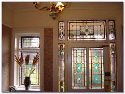 stained glass window above door