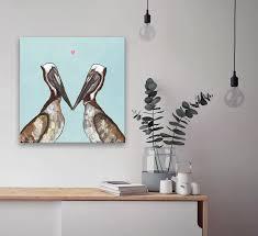 Pelican Love Animals Canvas Wall Art Greenbox