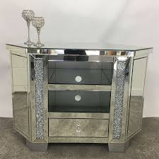 diamond crush tall mirrored corner tv