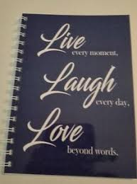 year diary blue live love and laugh quote a week to one page