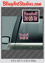 Handmade Vinyl Rhinestone Baseball Mom Decal Sticker Bling Art Studios Baseball Sticker Baseball Mom Rhinestone Car Decal