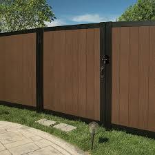Freedom Artisan 6 Ft H X 5 Ft W Saddle Vinyl Fence Gate Lowes Com Vinyl Fence Fence Gate Decorative Fence Panels
