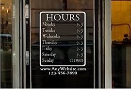 Amazon Com Stickerloaf Brand Large Store Hours 12x15 Name Custom Window Decal Business Shop Storefront Vinyl Door Sign Company Law Office Medical Antique Boutique Cafe Office Products