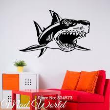 Mad World Shark Jaws Fish Animal Wall Art Sticker Decal Wall Art Home Decoration Wall Sticker Removable Room Decor Wall Stickers Wall Sticker Decorative Wall Stickershome Decor Wall Sticker Aliexpress