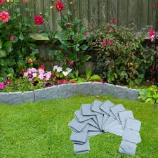 A N 20 Pieces Lawn Edging Bordering Cobbled Stone Plastic Garden Border Plant Border Flower Bed Fence Grass Edging 5 Meter Amazon Co Uk Garden Outdoors