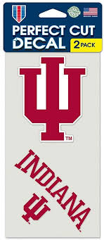 Amazon Com Wincraft Ncaa Indiana University Perfect Cut Decal Set Of 2 4 X 4 Automotive Decals Sports Outdoors