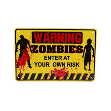 Yellow Tin Metal Warning Zombies Halloween Horror Door Sign Kids Room Wall Decor Walmart Com Walmart Com