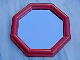 8 sided red wood frame hanging mirror