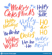 christmas and new year calligraphy phrases vector handwritten
