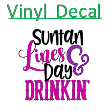 Sun Tan Lines Day Drinking 3 Vinyl Decal Sticker For Cup Tumbler Glass Mug Ebay