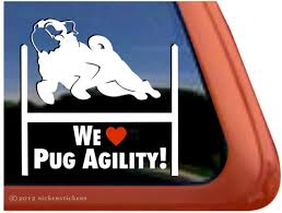 Pug Agility Dog Decals Stickers Nickerstickers