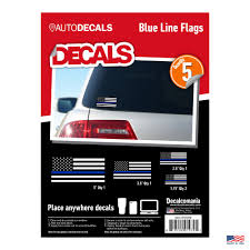 Decalcomania Thin Blue Line Flag Sticker Vinyl Decal 5 Pack Size Variety Decalcomania