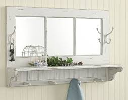 wood wall mirror with shelf and hooks