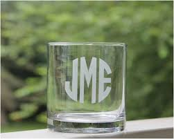 whiskey glass etched 11oz