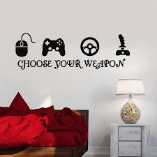 Gamer Vinyl Wall Stickers Video Game Play Room Joystick E Sports Wall Decals Decor Vinyl Wall Stickers Wall Stickersports Wall Decals Aliexpress