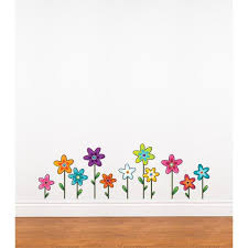 Adzif 37 In X 12 In Multi Color Wild Flowers Kids Wall Decal L5310 Ajv5 The Home Depot