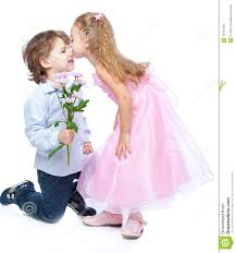 little boy and in love stock image