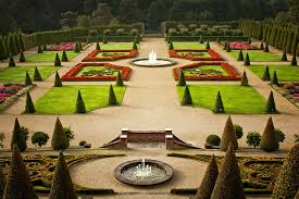 photo of garden with water fountains
