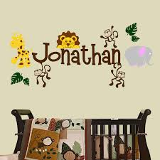 Amazon Com Jungle Theme With Personalized Name Nursery Wall Decal Multi Color Set Of 16 Wall Decals Handmade