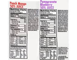 v8 splash nutrition label