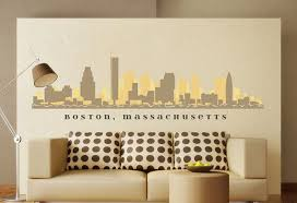 I Kind Of Like The Idea Of This As A Headboard Minus The Text If The Measurements Would Align Boston Massachusett Decal Wall Art Wall Decals Chicago Skyline