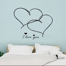 Two Hearts Cross Wall Sticker I Love You Romantic Lover Quotes Vinyl Wall Decals Home Decoration For Living Room Bedroom Y568 Wall Stickers Aliexpress