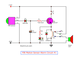 motion detector alarm circuit with pir