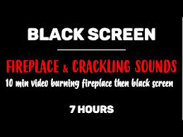 black screen burning fireplace