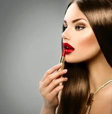 y applying makeup red lipstick
