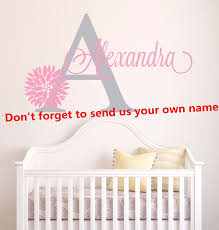 Custom Baby Girl Name Wall Decal Personalized Name Vinyl Wall Sticker Kids Nursery Bedroom Dahlia Flower Style Wall Decal Ay0113 Wall Stickers Aliexpress