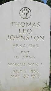 JOHNSTON (VETERAN WWI), THOMAS LEO - Sebastian County, Arkansas | THOMAS  LEO JOHNSTON (VETERAN WWI) - Arkansas Gravestone