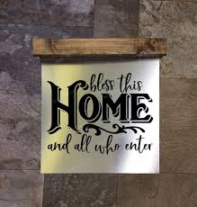 Bless This Home Metal Or Wood Sign With Vinyl Sticker Quote Wall Art 3 Sign Choices