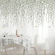 Hanging Dark Green Leaves Vine Wall Decal Natural Plants Wall Stickers Living Room Wall Decors Creative Botanical Dropping Leaf Murals Thefuns On Artfire