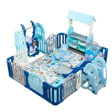 Children S Indoor Play Fence Multi Function Baby Toddler Crawling Mat Safety Fence Home Playground Leather Bag