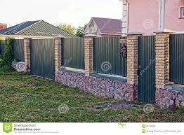 Green Fence And Gate And Green Gate With Mailbox Stock Photo Image Of Private Closed 96134682