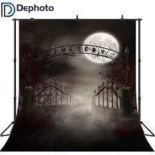 Dephoto Halloween Photography Backdrop Vintage Haunted Cemetery Gate Full Moon Horror Night Scary Doorway Gloomy Background Prop Background Aliexpress