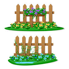 Premium Vector Cartoon Wooden Fence With Garden Flowers In Hanging Pots Set Of Garden Fences On White Background Wood Boards Silhouette Construction In Style With Flower Hanging Decorations