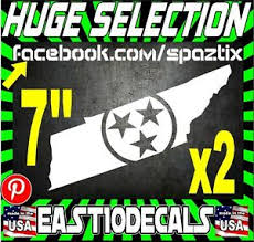2 Tennessee Tri Star State Vinyl Car Sticker Decal Ut Vols Ebay