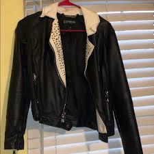 white and black studded leather jacket