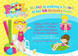 Swimming Pool Party Clip Art Girl Pool Party Invitation You