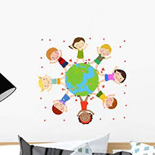 Amazon Com Wallmonkeys Kids And Globe Wall Decal Peel And Stick Educational Graphics 18 In W X 18 In H Wm42062 Furniture Decor