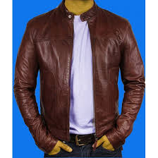 brown color leather jacket for