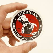 Great Lakes State Sticker Michigan Seal Sticker Mitten Crate