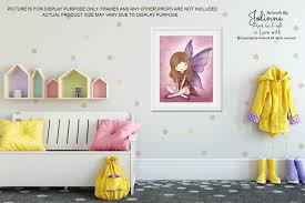 Girls Angel Room Decor Wall Art Kids Bedroom Pink Fairy Poster Baby Nursery Illustrations 8x10 Print Brown Hai Art Wall Kids Funny Wall Art Kids Art Wall Decor