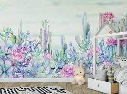 Floral Wallpaper Purple Flower Wall Mural Watercolor Cactus Wall Art Vintage Home Decor Cafe Design Living Room Wall Decor Wall Decals Murals Home Living
