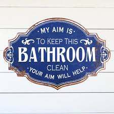 vintage inspired metal bathroom sign