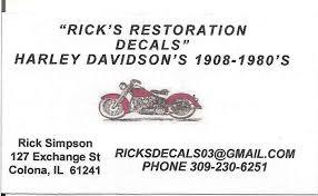 Harley Davidson Vintage Decals 1908 Through 1980 S Classic Motorcycle Exchange
