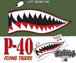 Flying Tiger P 40 Sticker Decal 3 Color Graphic Left Facing Automotive Artwork Nose Art Aircraft Painting